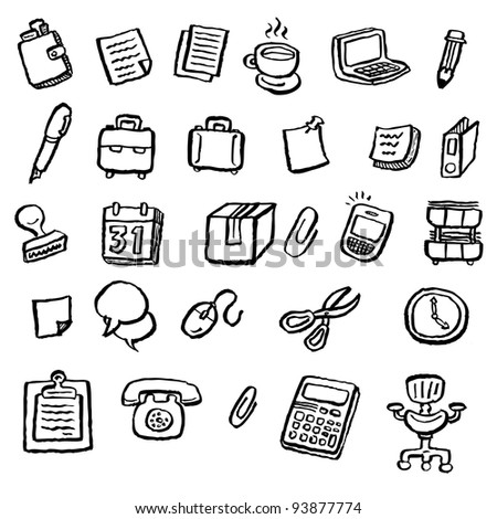 doodle office - stock vector