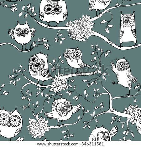 Doodle owls seamless pattern - stock vector