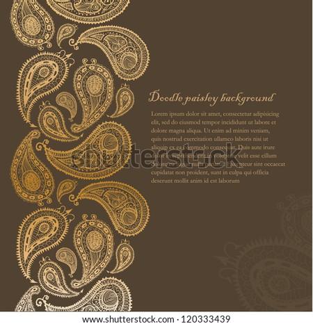 Doodle paisley background corner. - stock vector
