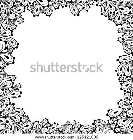 Doodle paisley background-frame. - stock vector