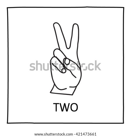 Doodle Palm icon. Victory symbol. Isolated on white. Counting hands showing two fingers. Graphic design element for teaching math. Great for showing numbers on your design in a fun and creative way. - stock vector