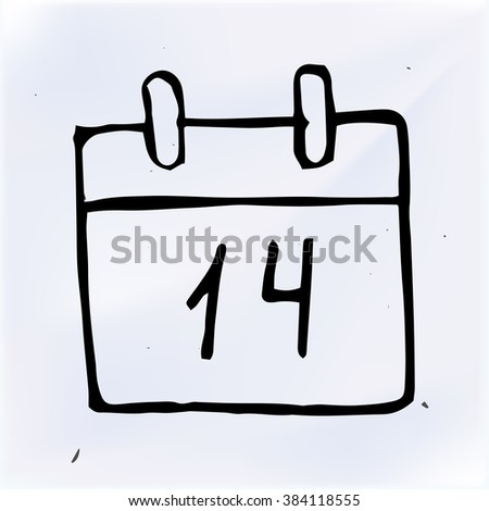 doodle paper calendar, vector illustration
