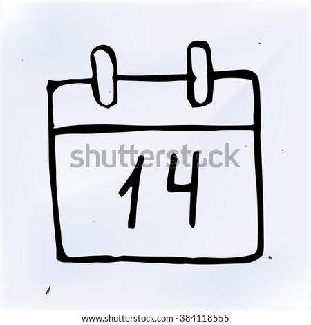 doodle paper calendar, vector illustration - stock vector