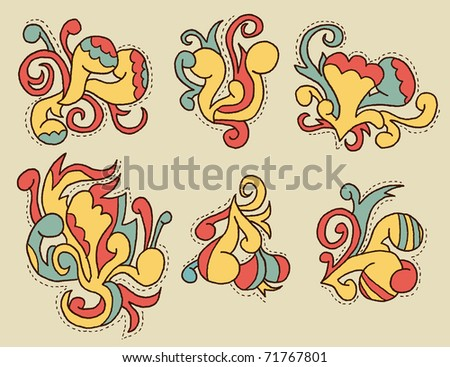 Doodle Pattern #1 - can be used as ornaments/decorations on layouts, posters, cards etc. - stock vector