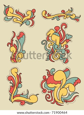 Doodle Pattern #2. Doodley set of patterns. Can be used within posters, layouts, cards etc. - stock vector