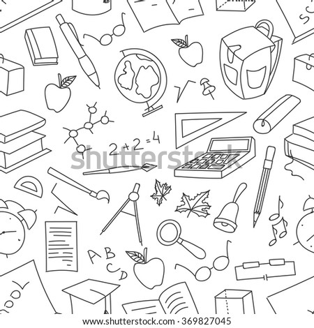 Doodle pattern of learning - stock vector