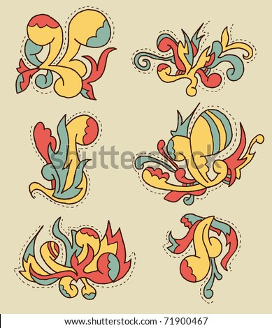 Doodle Pattern #3. Set of doodley patterns. Can be used as ornaments in posters, layouts, cards etc. - stock vector