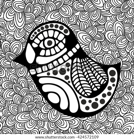 Doodle pattern with black and white bird image for coloring. Vector illustration. - stock vector