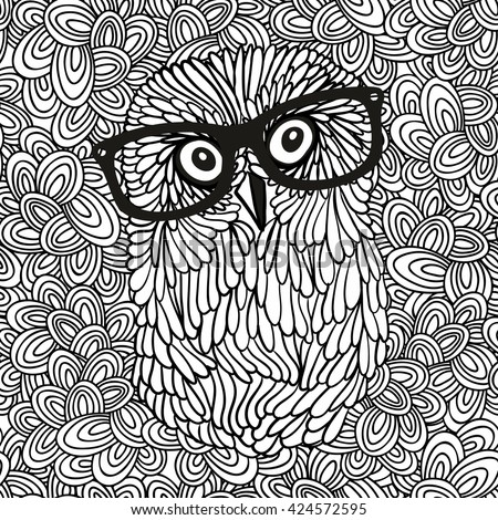 Doodle pattern with black and white hipster owl image for coloring. Vector illustration. - stock vector