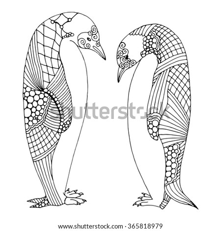 Doodle penguin pair illustration - stock vector