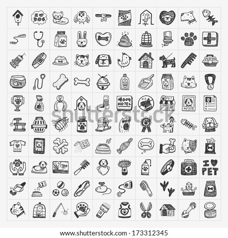 doodle pet icons set - stock vector