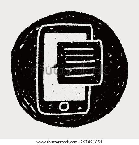 doodle phone speech - stock vector