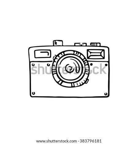 Doodle photo camera. Vector hand draw illustration. Sketch lines. - stock vector