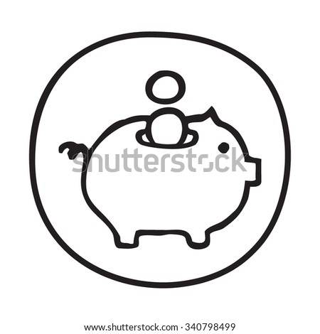 Doodle Piggy Bank icon. BInfographic symbol in a circle. Line art style graphic design element. Web button. Savings, investment, falling coins, money concept.  - stock vector