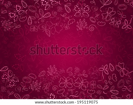 Doodle Pink Card with Flower and Butterfly Silhouettes.  Place for Text. - stock vector