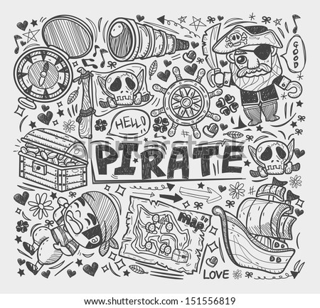 doodle pirate elememts - stock vector