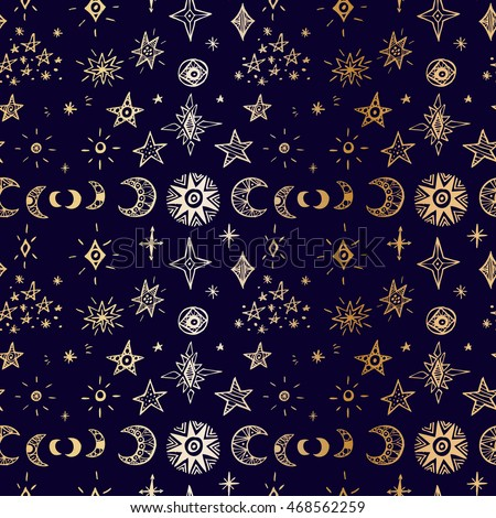 Doodle planets and stars. Seamless pattern.