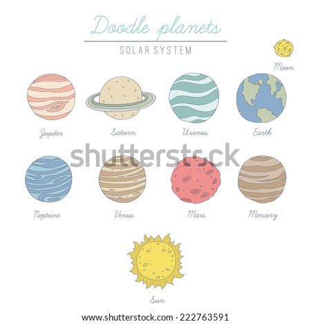 Doodle planets collection. EPS 10. No transparency. No gradients. - stock vector
