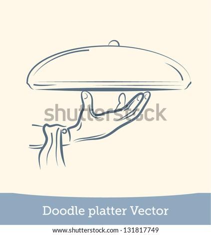 doodle platter on hand - stock vector