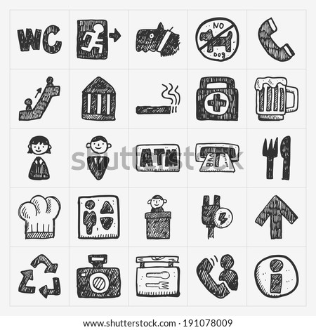 doodle public sign icon - stock vector
