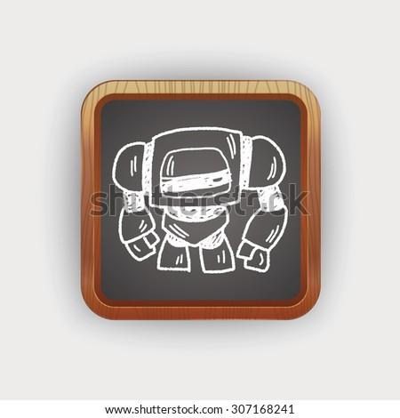 Doodle Robot - stock vector