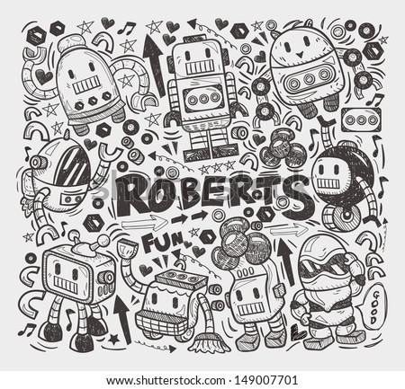 doodle robot element, illustrator line tools drawing - stock vector