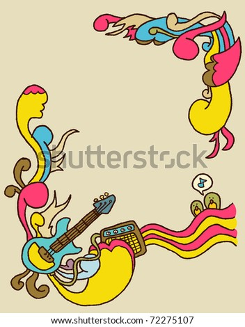 doodle rock poster background - stock vector