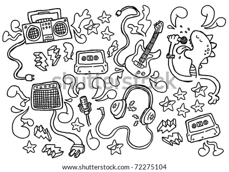 doodle rock. set of rockin' items. - stock vector
