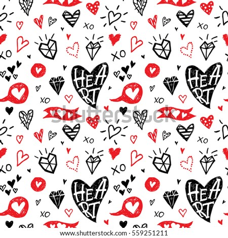 Doodle rustic hand drawn hearts. Seamless pattern.