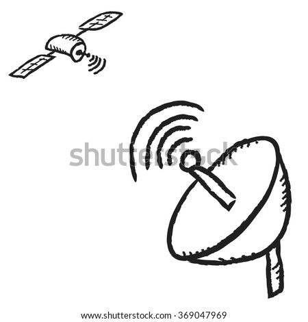 doodle satellite dish and communications satellite, vector illustration icon design element - stock vector