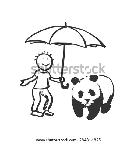 doodle save panda concept. Expression of the idea for protecting of wildlife and rare animals.  - stock vector