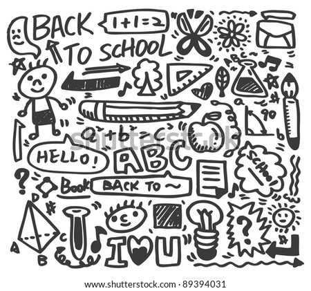 doodle school - stock vector