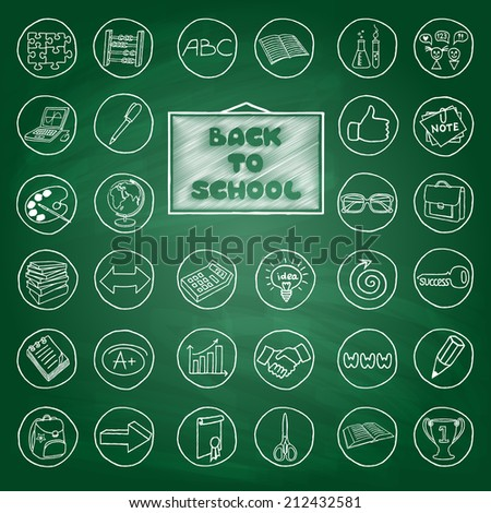 Doodle school buttons, green chalk board effect. Hand drawn vintage style. Vector Illustration. - stock vector