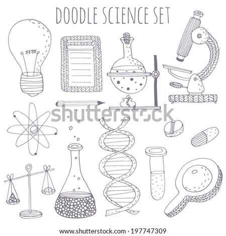 Doodle science set. EPS 10. No transparency. No gradients.