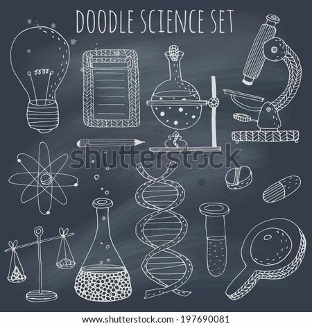 Doodle science set on blackboard. EPS 10. Transparency. No gradients. - stock vector