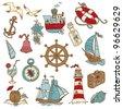 Doodle Sea elements - for your design, scrapbook in vector - stock vector