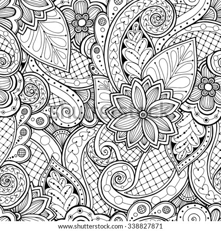 Doodle seamless background in vector with doodles, flowers and paisley. Vector ethnic pattern can be used for wallpaper, pattern fills, coloring books and pages for kids and adults. Black and white. - stock vector