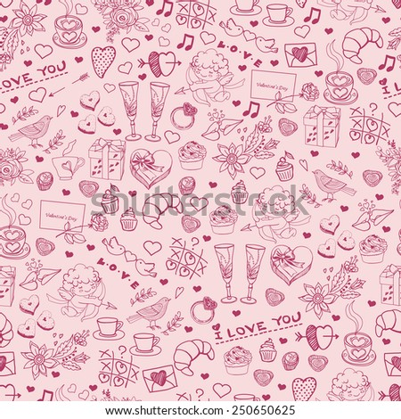 Doodle seamless for Valentine's Day. Hand drawing pattern. Seamless pattern for fabric, paper and other printing and web projects.