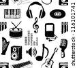 doodle seamless music pattern - stock vector
