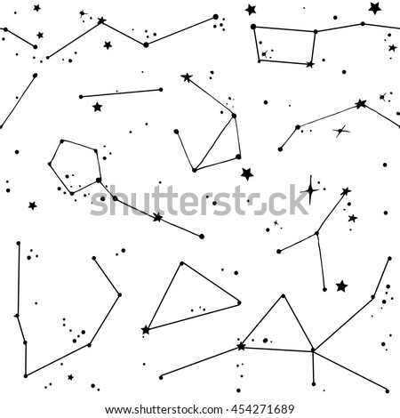 Doodle seamless white pattern with different constellations and stars ...