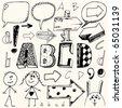 doodle set - A, B, C, D - stock vector