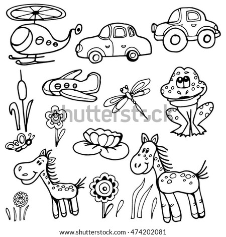 doodle set a childs drawing fun and simple helicopter car plane frog
