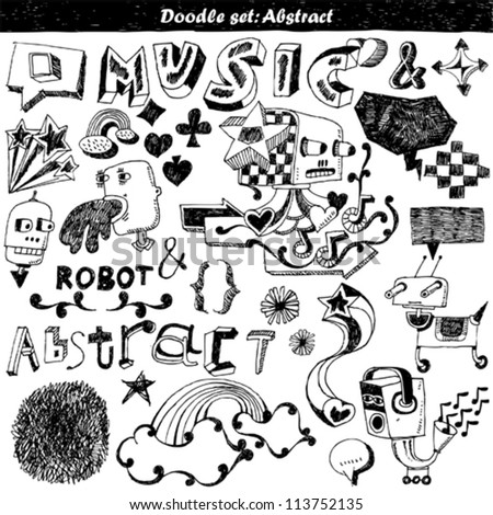 doodle set - abstract elements - stock vector