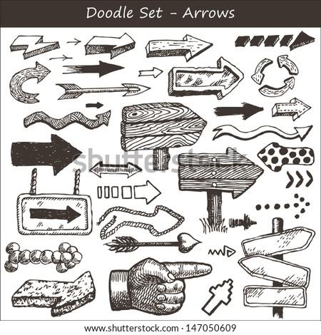 Doodle set: arrows  - stock vector