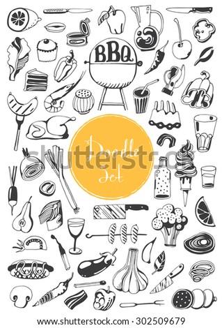 Doodle set - BBQ  - stock vector