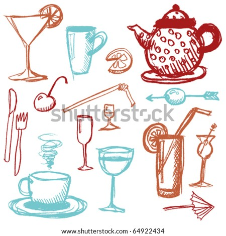 doodle set - beverages - stock vector
