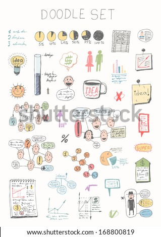Doodle set - business info graphics