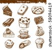 doodle set : cake - stock vector