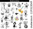 Doodle set - circus - stock vector