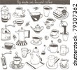 doodle set - coffee and tea design elements - stock vector